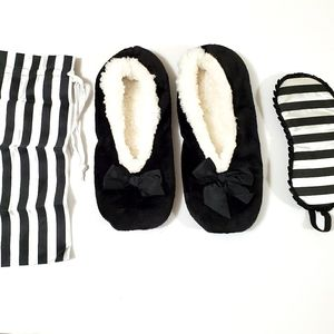 Eye Mask and Slippers Set with Travel Pouch Black